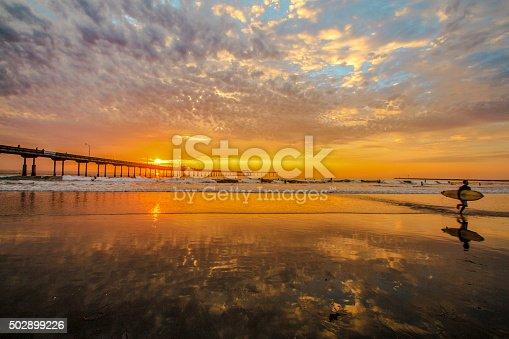 sunset surfing ocean beach san diego