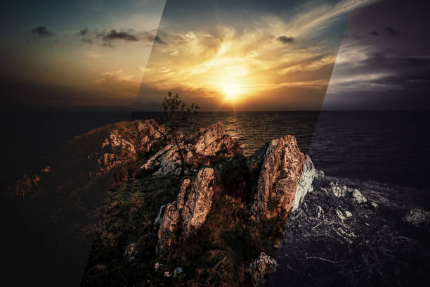 puesta del sol - retouched image stock photos and pictures