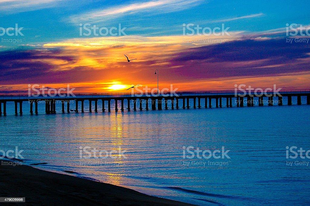 Sunset pier stock photo