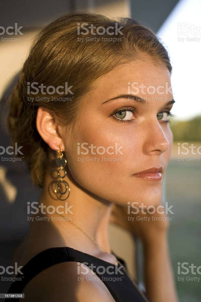 Sunset Portrait of Young Woman royalty-free stock photo