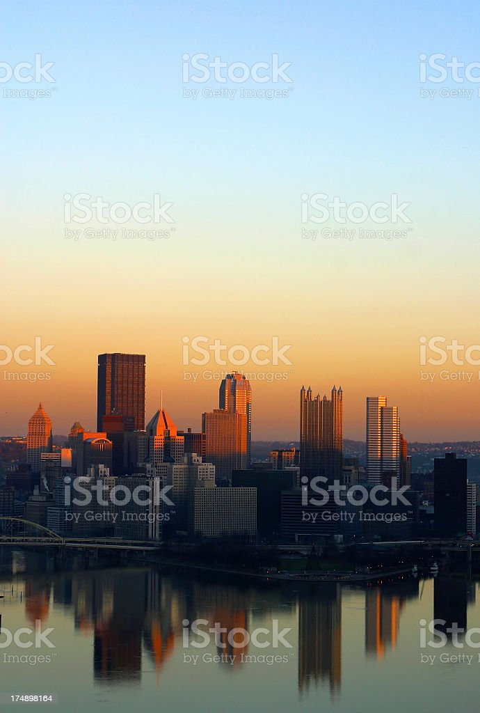 Sunset portrait shot of Pittsburgh city scape stock photo