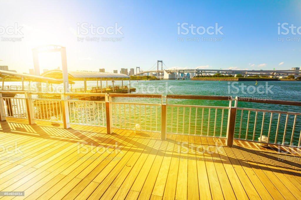 Sunset promenade Odaiba stock photo