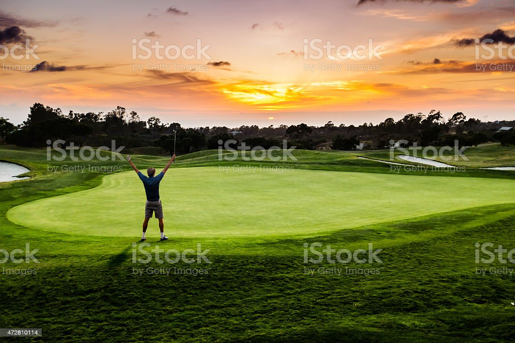 Sunset Putter Celebration stock photo