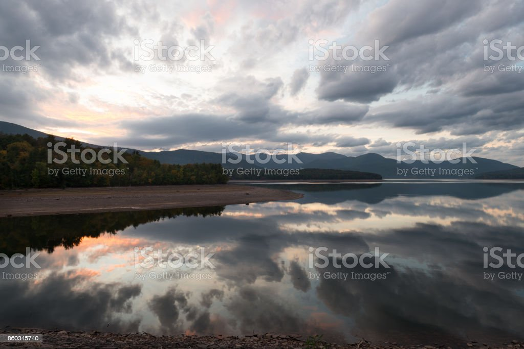 Sunset reflected on the Ashokan Reservoir. stock photo