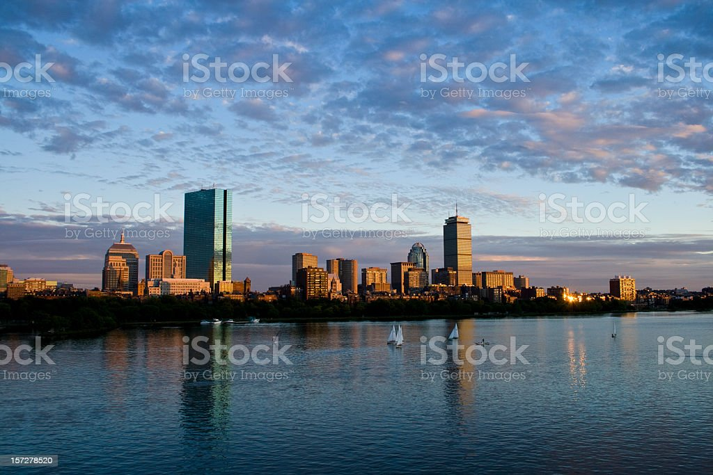 Sunset reflection in the Charles River stock photo