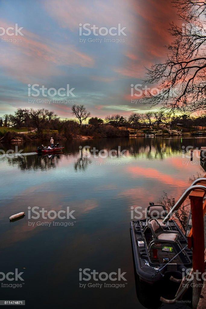 HDR Sunset Reflection of LBJ Lake near Austin Texas stock photo