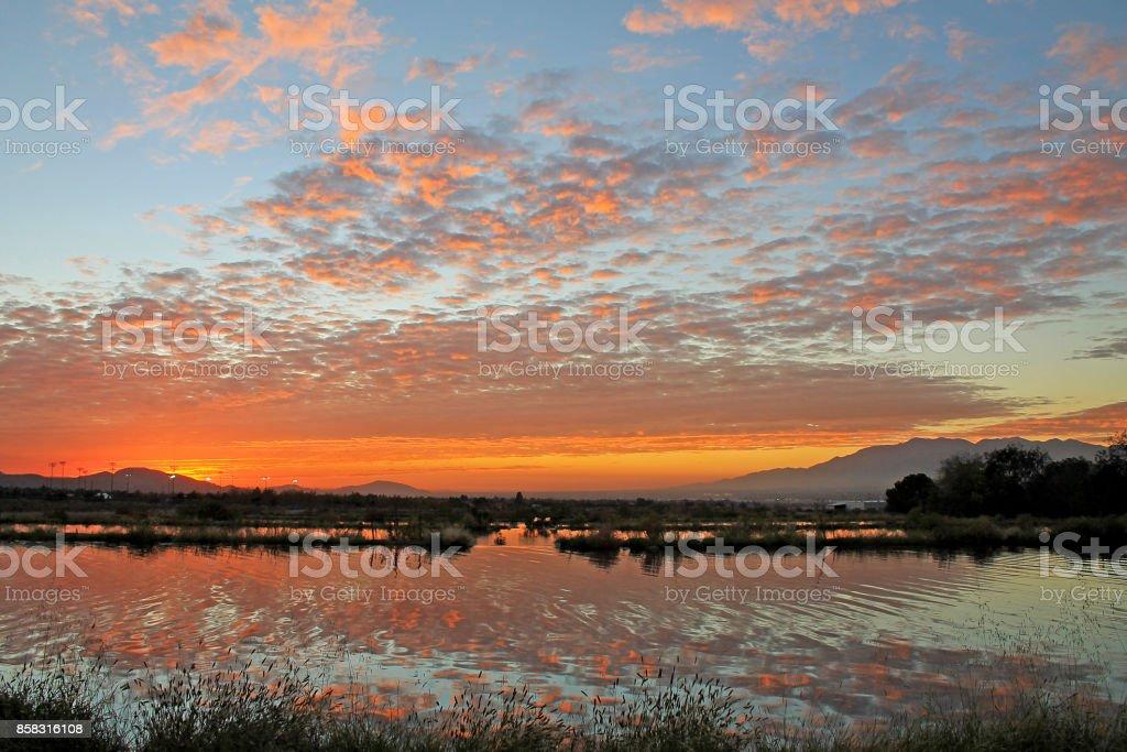 Sunset Reflection Redlands 11-19-16 Sunset reflection on water in Redlands California California Stock Photo