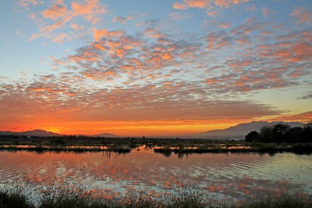 Sunset Reflection Redlands 11-19-16 stock photo