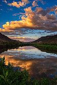 Sunset Reflections Mountain River Scenic Landscape Colorado