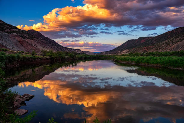 Sunset Reflections Mountain River Scenic Landscape Colorado Sunset Reflections Mountain River Scenic Landscape Colorado vail colorado stock pictures, royalty-free photos & images