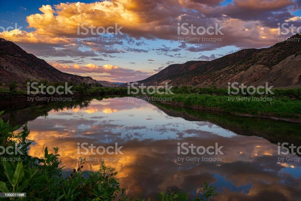 Sunset Reflections Mountain River Scenic Landscape Colorado stock photo
