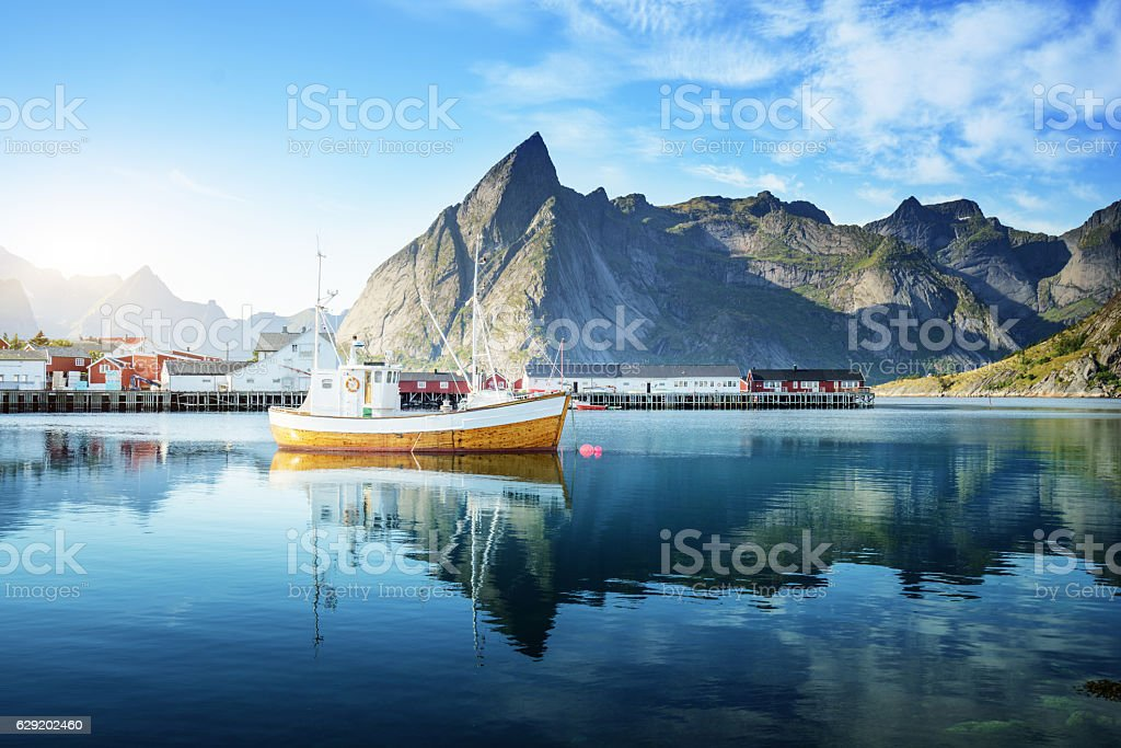sunset - Reine, Lofoten islands, Norway stock photo