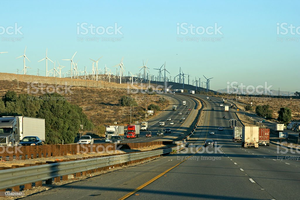 Sunset Ride to Windpower royalty-free stock photo
