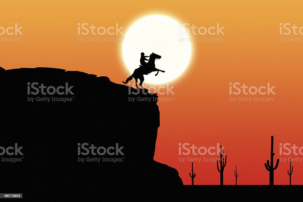 Sunset Rider on Cliff royalty-free stock photo