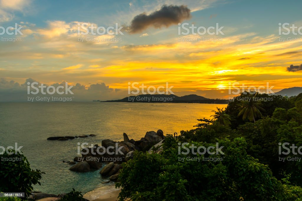 Sunset Rock Hin Ta and Hin Yai from Thailand Island of Koh Samui royalty-free stock photo