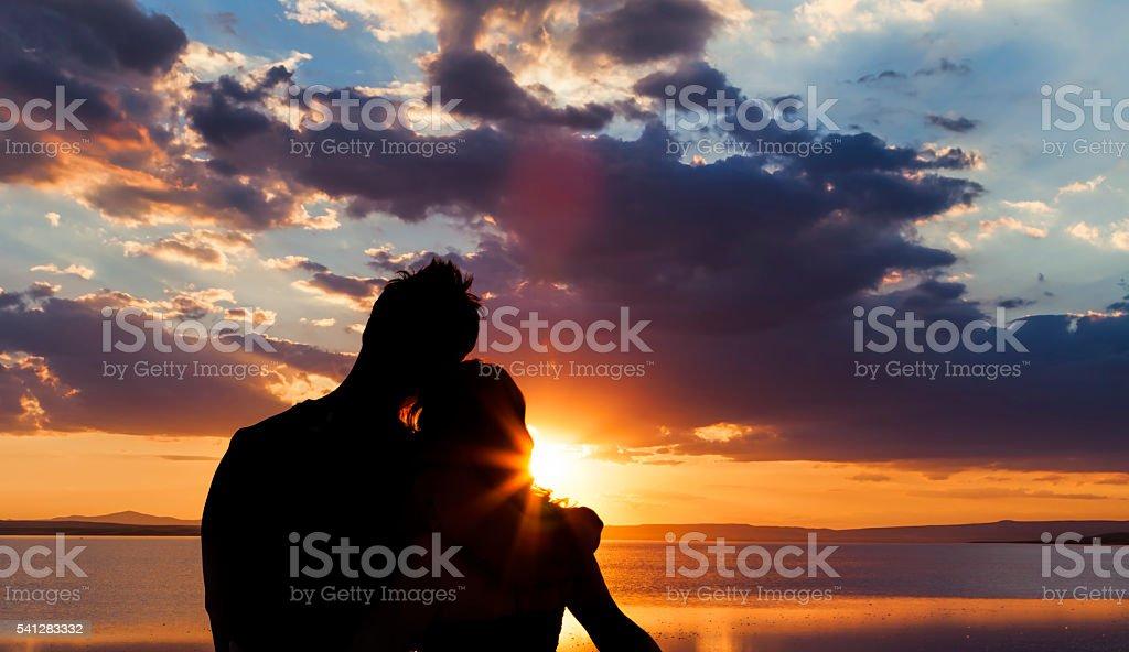 Sunset romance stock photo