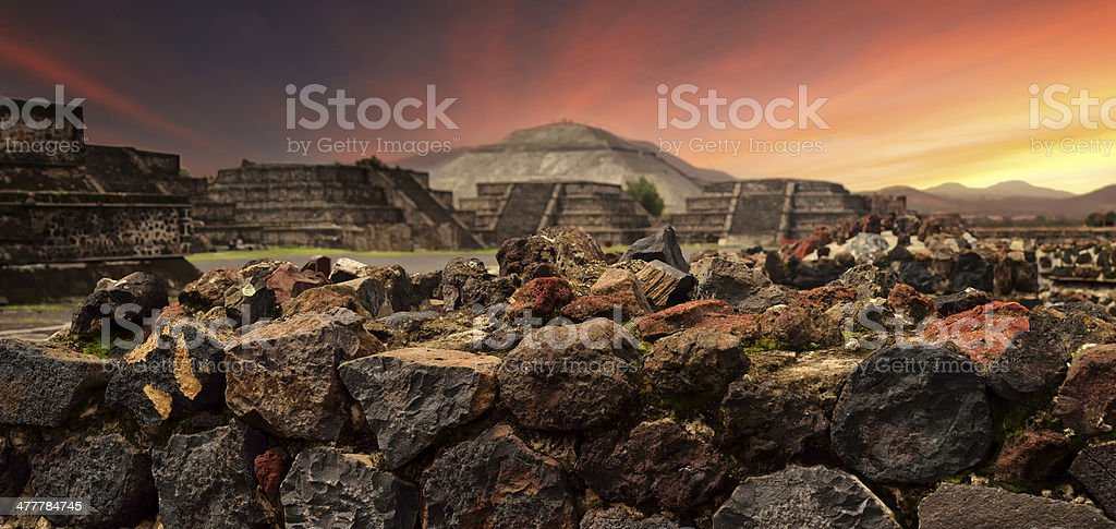 Sunset ruins ancient Mayan city of Teotihuacan stock photo
