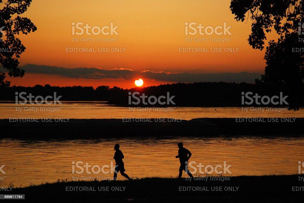 Sunset Run stock photo