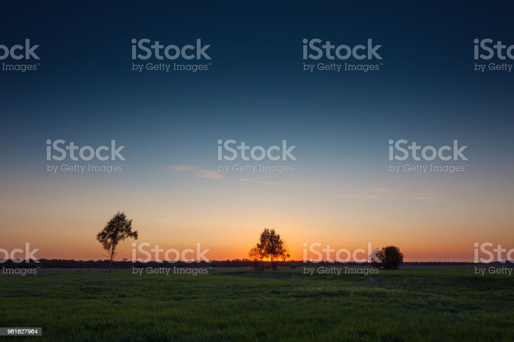 Sunset rural landscape stock photo