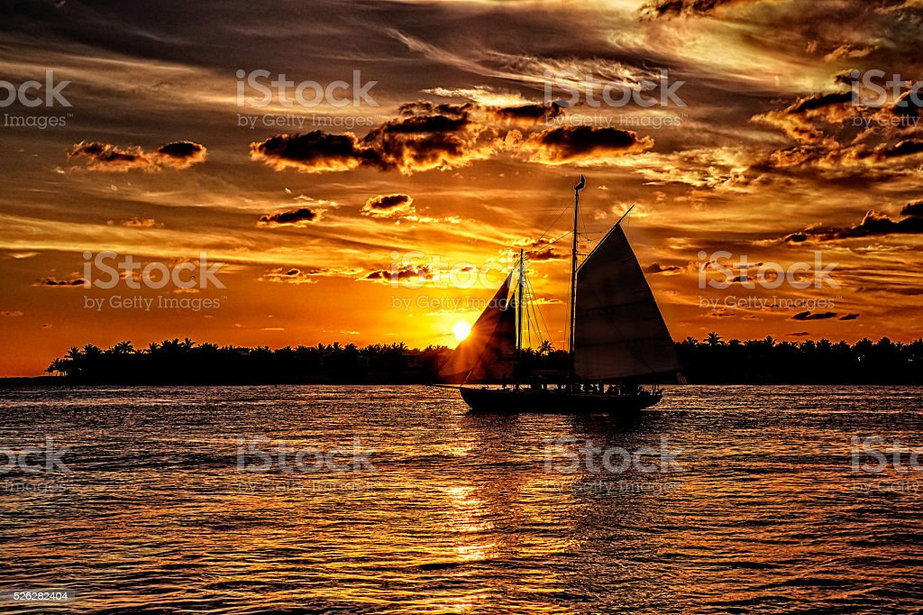 Sunset Sail at Key West, Florida stock photo