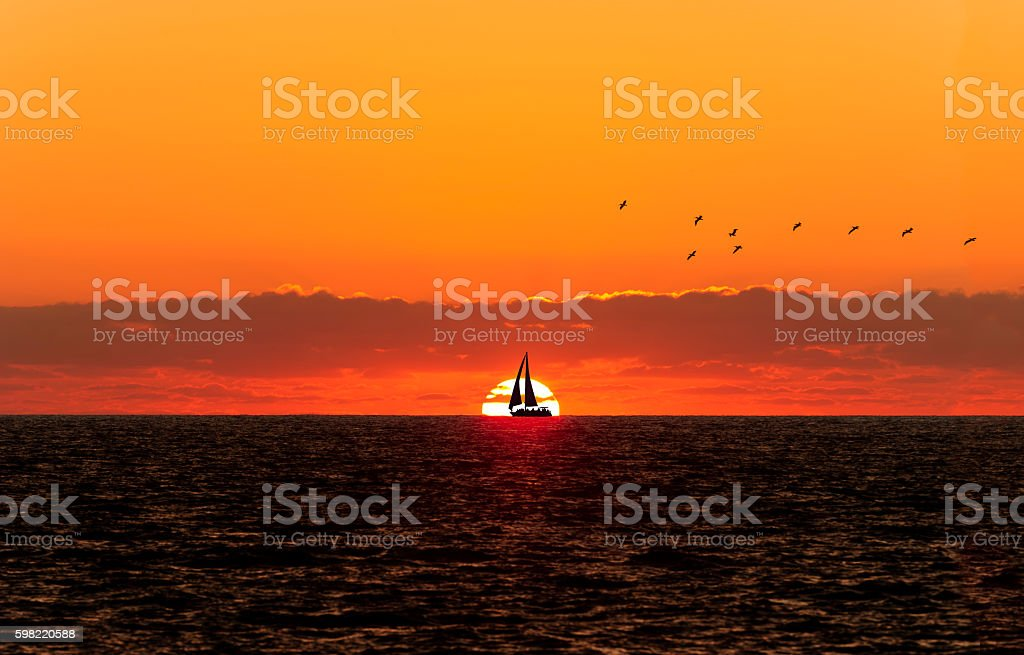 Sunset Sailboat Silhouette foto royalty-free