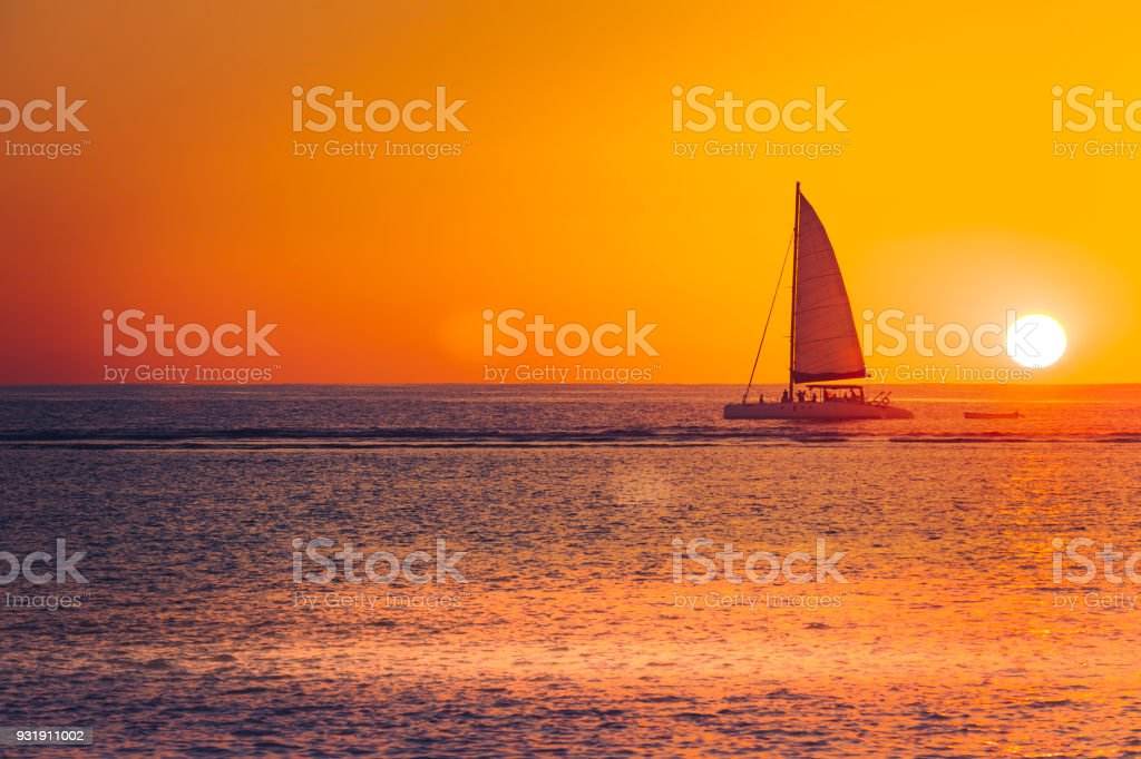 sunset sailing on mauritius island, indian ocean, africa stock photo