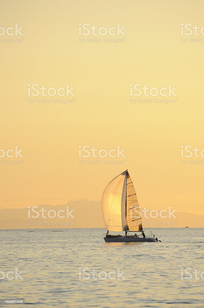 Sunset sailing royalty-free stock photo
