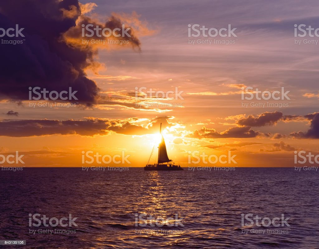 Sunset Sailing Two stock photo