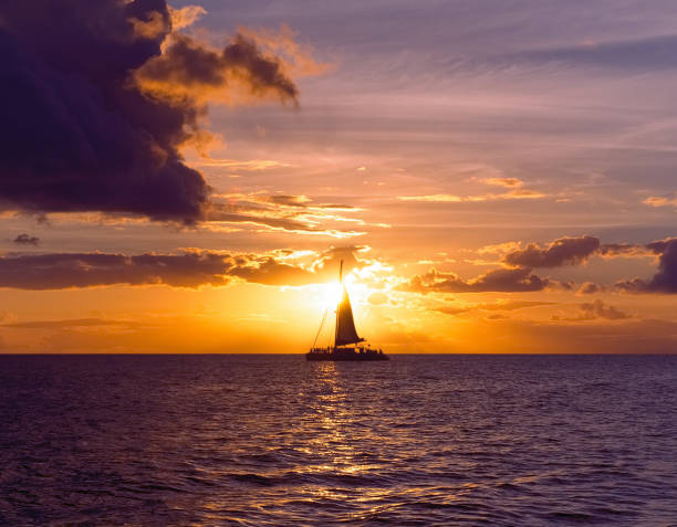 Sunset Sailing Two stock photo