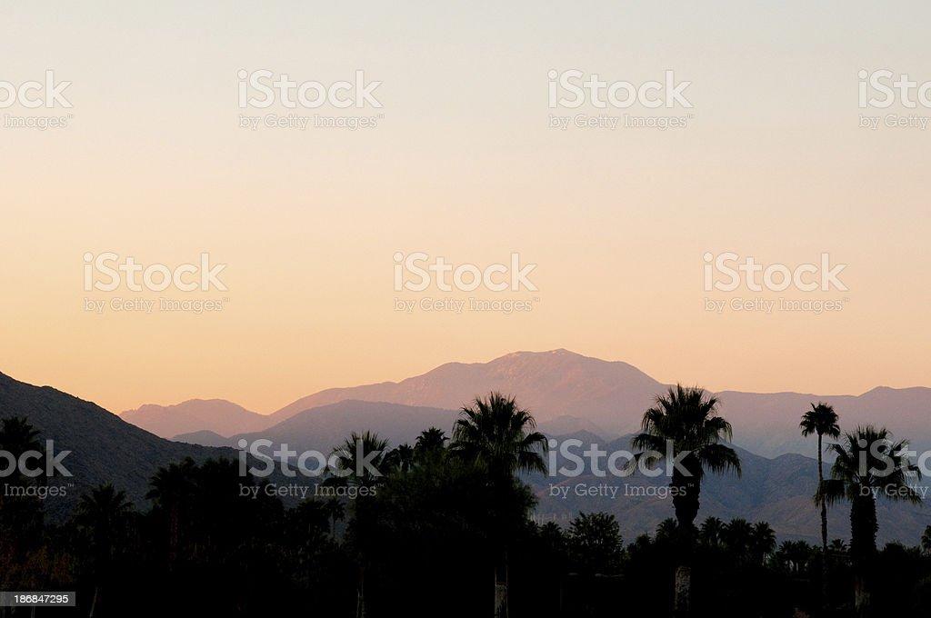 Sunset San Jacinto Mountain Palm Springs stock photo