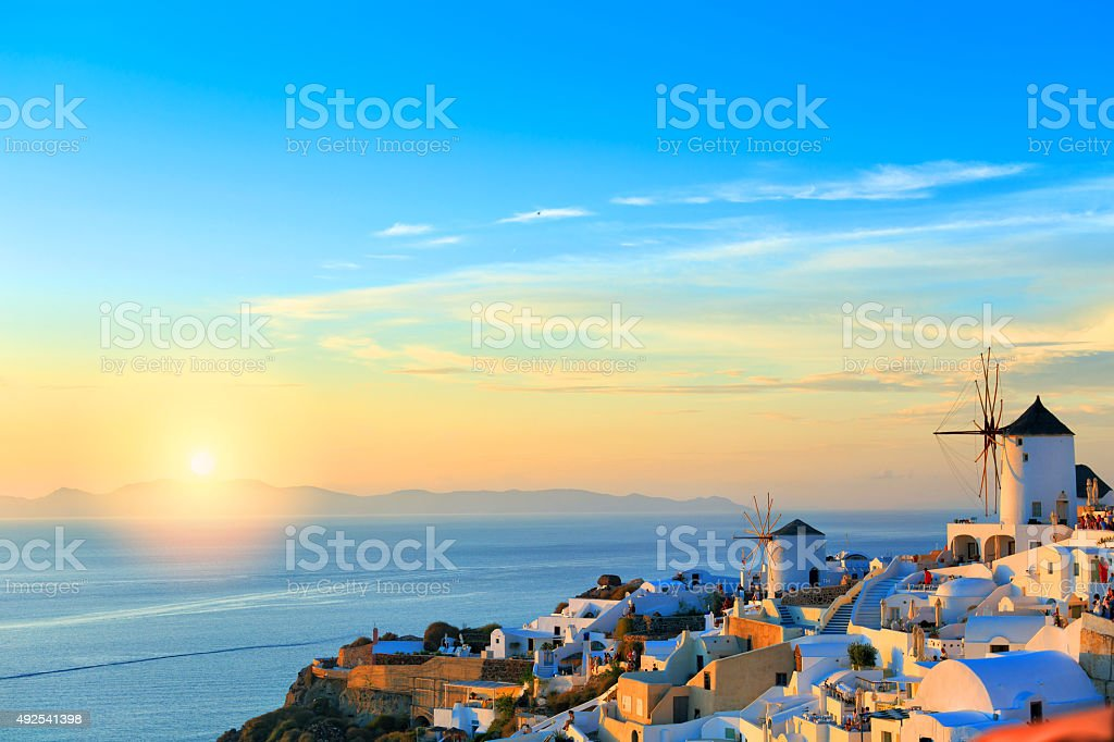 Sunset Santorini Oia stock photo