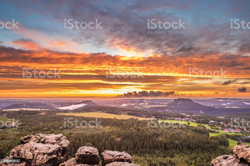 sunset saxon switzerland stock photo