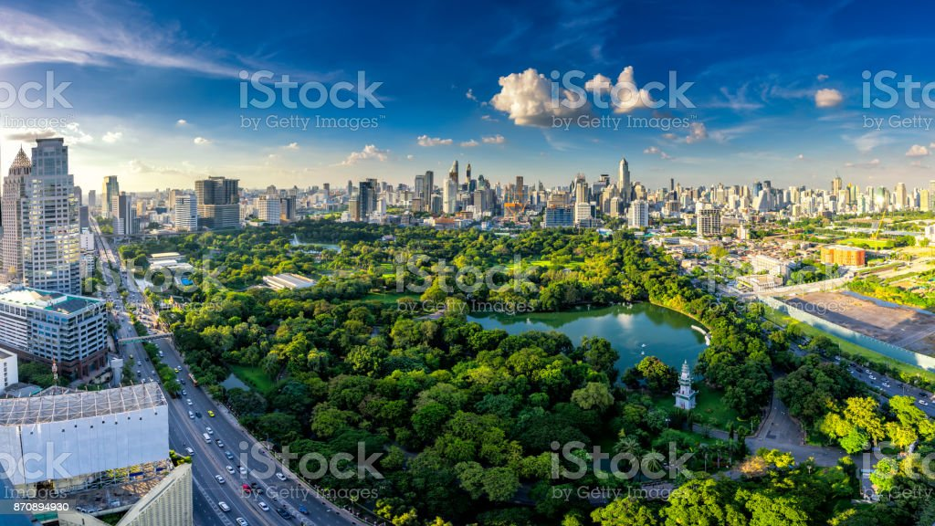 Sunset scence of Bangkok skyline Panorama stock photo