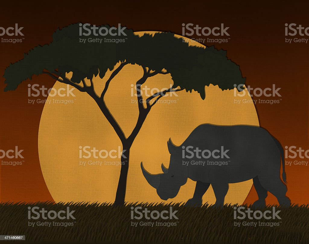 Sunset scene at Africa safari made from recycled paper royalty-free stock photo
