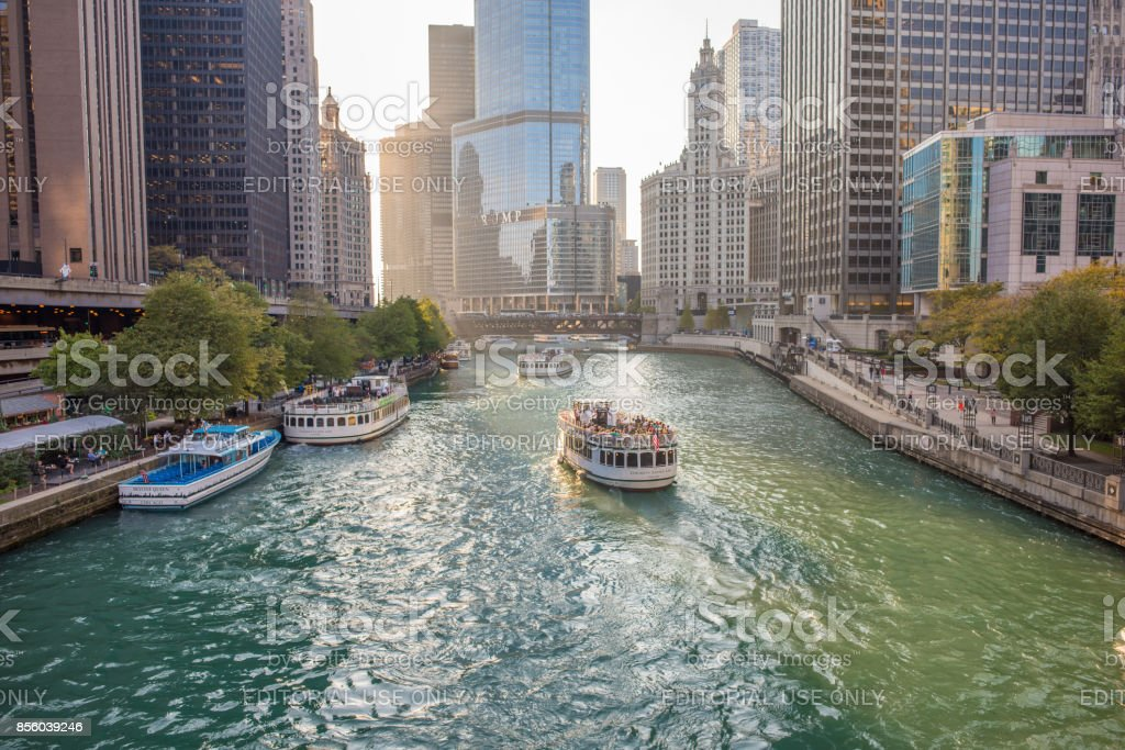 Sunset scene downtown Chicago along the river stock photo