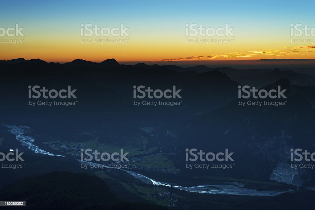 sunset scene in austrian alps stock photo