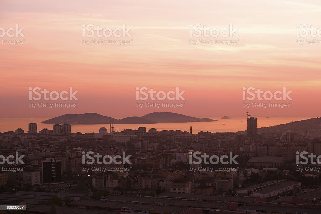 sunset scene of prince islands from Kartal town istanbul turkey royalty-free stock photo