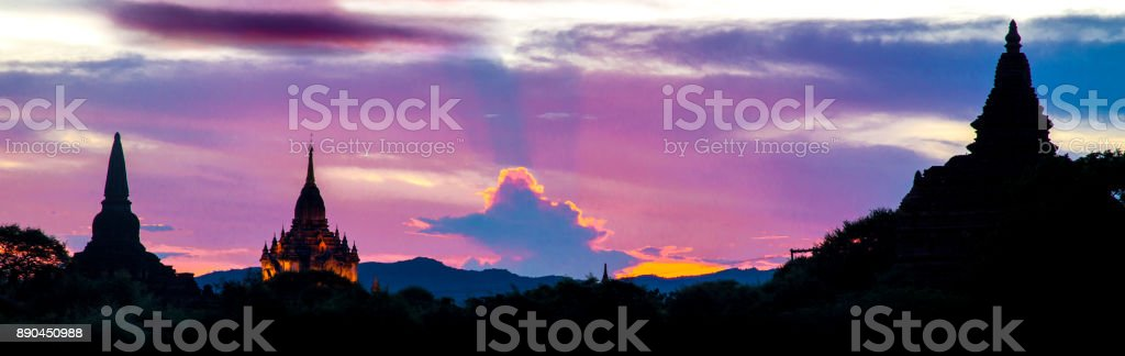Sunset scene of spires and stupas on temples in Bagan Myanmar stock photo
