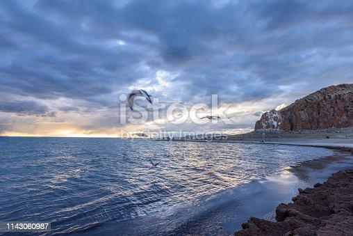Sunset scene of the Namtso