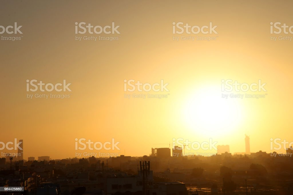 Sunset scene with buildings silhouette in countryside of Jeddah, Saudi arabia - Royalty-free Architecture Stock Photo