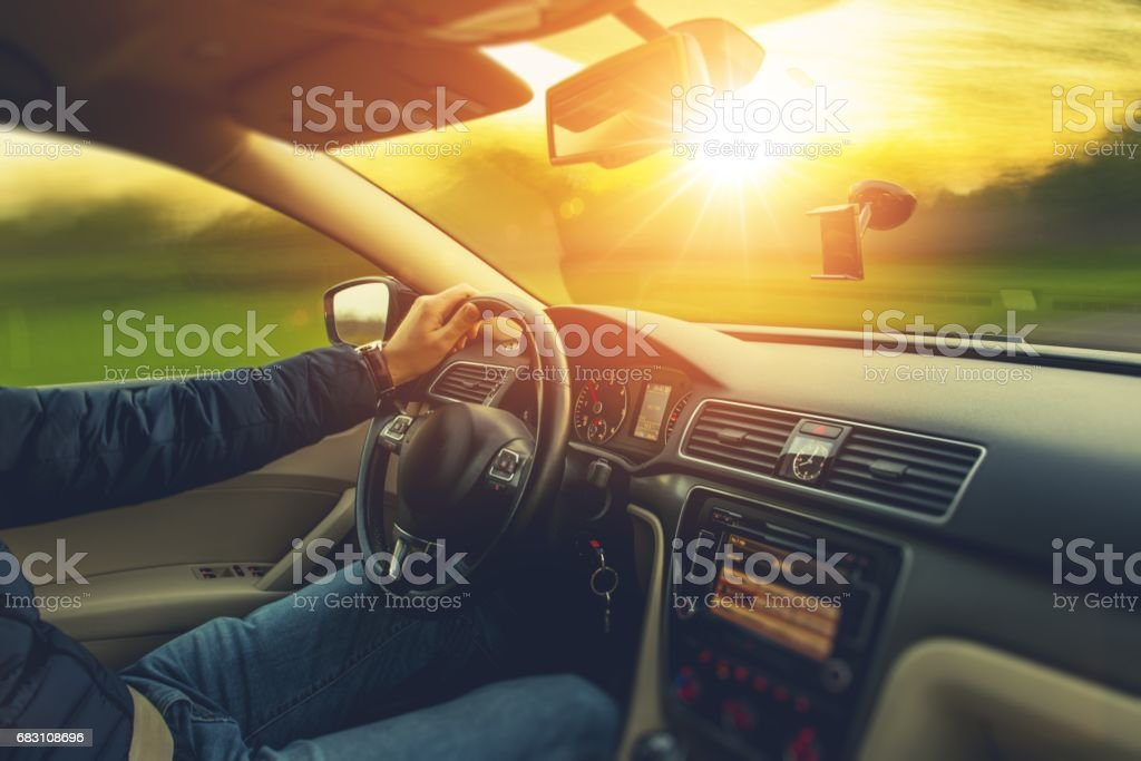 Sunset Scenery Car Drive stock photo