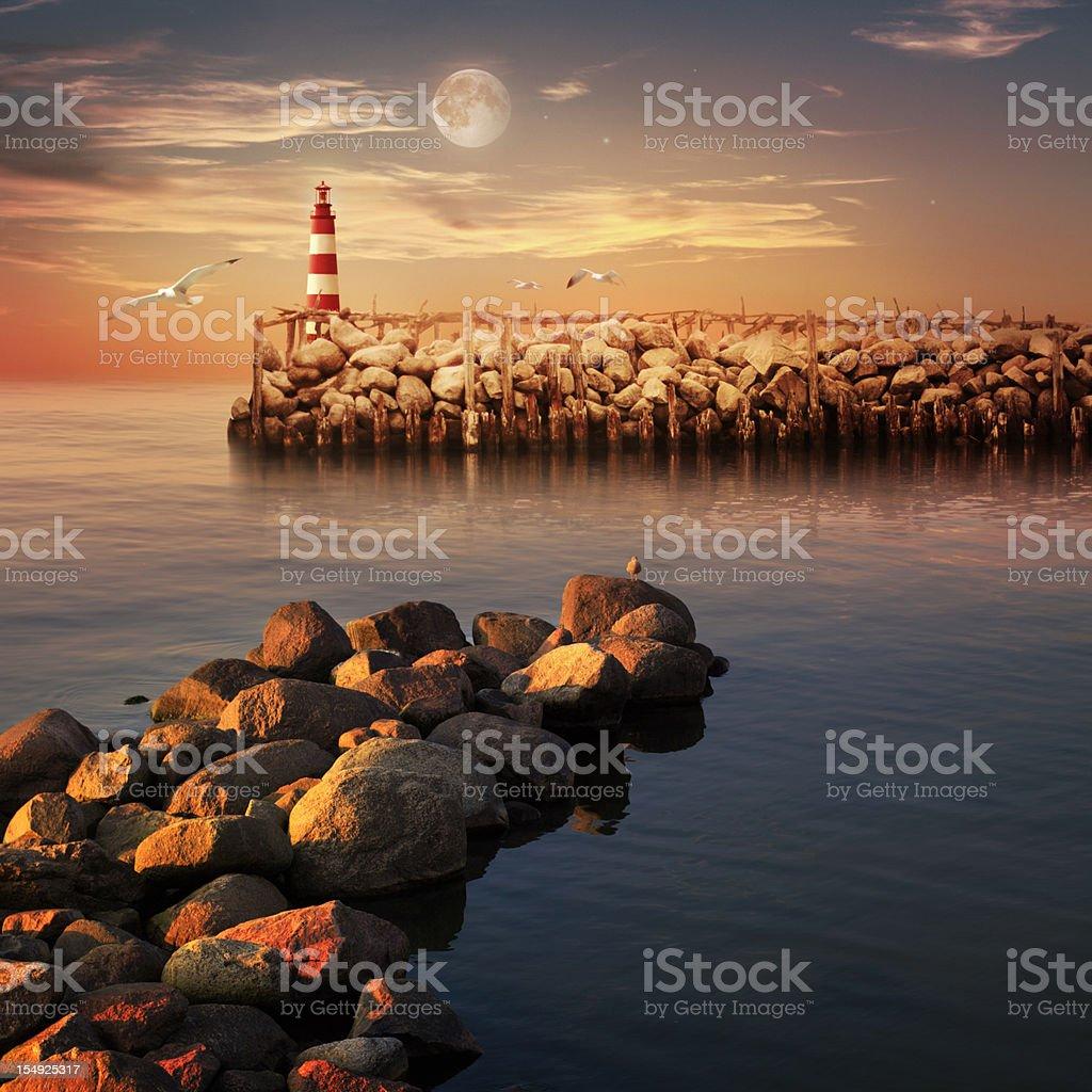 Sunset sea landscape royalty-free stock photo