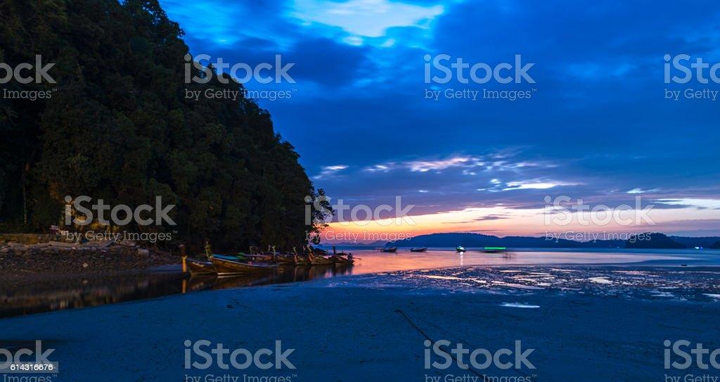 Sunset Sea Sand Beach Krabi, Thailand Jan 2016 stock photo
