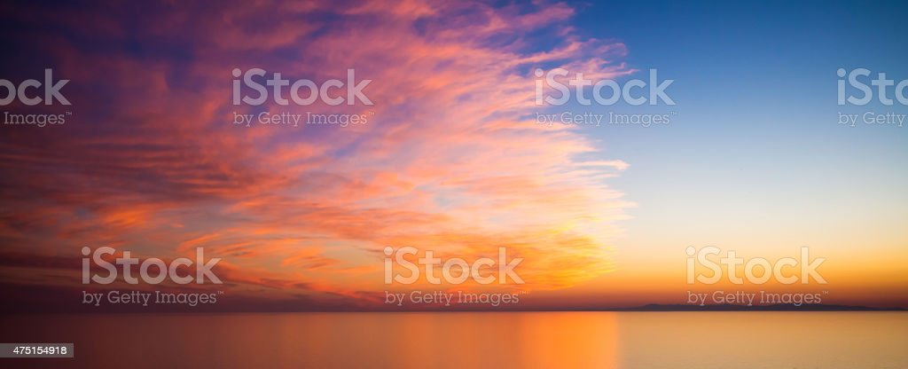 Sunset sea sky stock photo