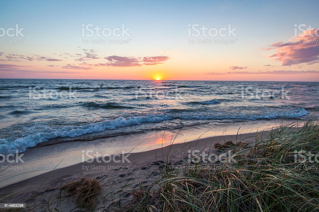Sunset Seascape Beach Horizon stock photo