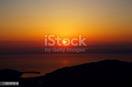 Sunset seen from Nishi-Izu skyline of Izu Peninsula.