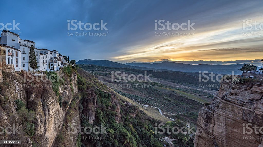 Sunset, seen from the Puente Nuevo in Ronda, Spain stock photo