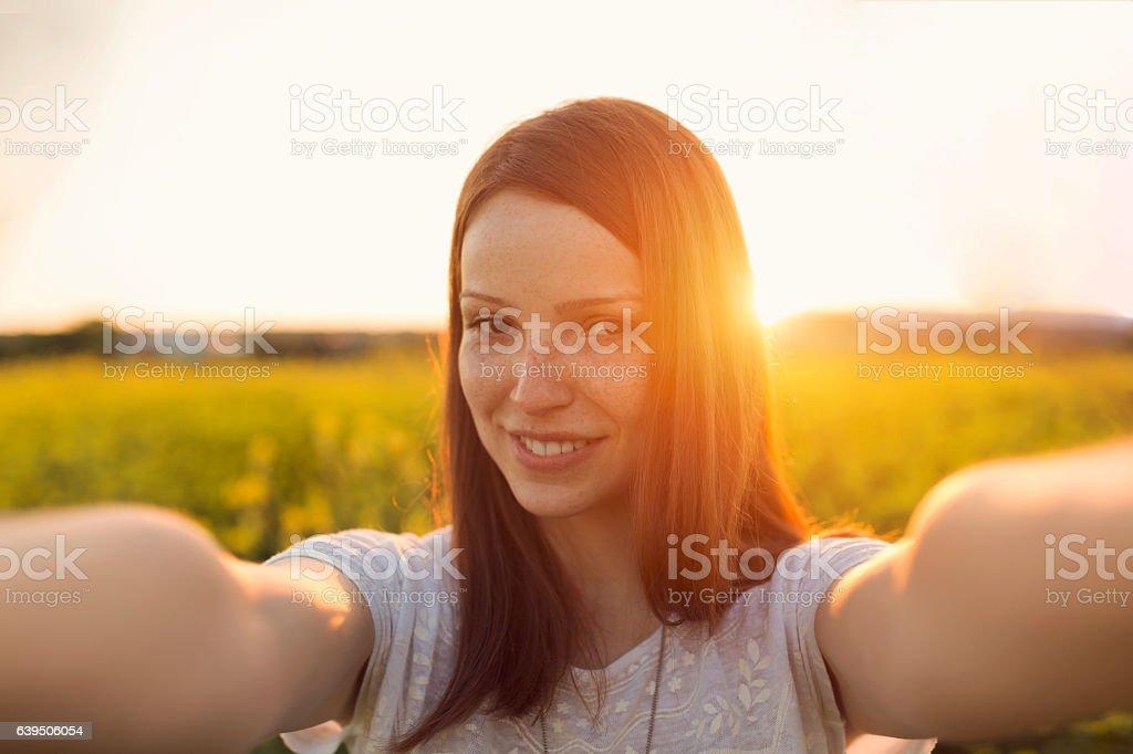 Sunset selfie stock photo