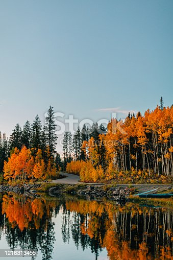 Sunset Shot of a Reflective Lake In the Fall Autumn Colors in the Grand Mesa National Forest In Beautiful Western Colorado