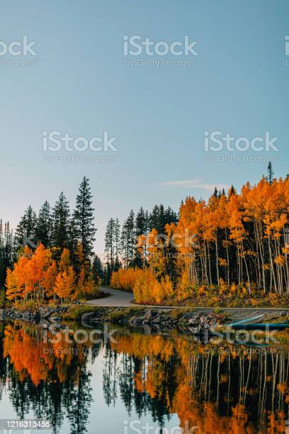 Photo of Sunset Shot of a Reflective Lake In the Fall Autumn Colors in the Grand Mesa National Forest In Beautiful Western Colorado